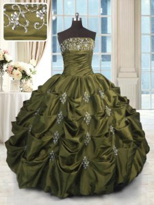 Artistic Olive Green Sleeveless Floor Length Beading and Appliques and Embroidery and Pick Ups Lace Up Quinceanera Gowns