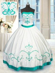 Strapless Sleeveless Sweet 16 Dresses Floor Length Beading and Embroidery White Satin