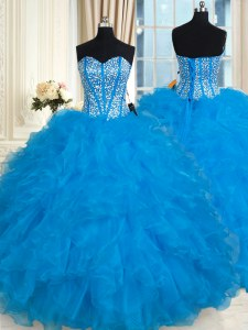 Baby Blue Lace Up 15th Birthday Dress Beading and Ruffles Sleeveless Floor Length