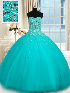 Elegant Aqua Blue Sleeveless Beading Floor Length 15 Quinceanera Dress