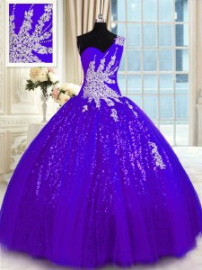 Elegant Purple One Shoulder Neckline Appliques Ball Gown Prom Dress Sleeveless Lace Up