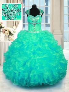 Straps Cap Sleeves Organza Sweet 16 Dress Beading and Ruffles Lace Up