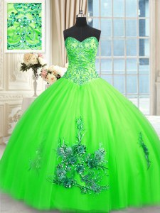 Popular Sweetheart Sleeveless Lace Up 15th Birthday Dress Tulle