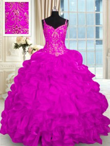 Super Fuchsia Organza Lace Up Spaghetti Straps Sleeveless Sweet 16 Quinceanera Dress Brush Train Beading and Embroidery and Ruffles