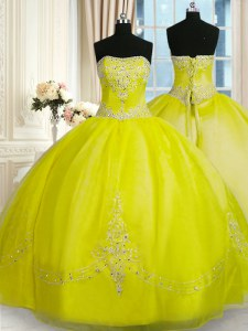 Vintage Yellow Green Strapless Lace Up Beading and Embroidery Vestidos de Quinceanera Sleeveless