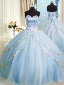 Sleeveless Court Train Beading and Appliques Lace Up Quince Ball Gowns