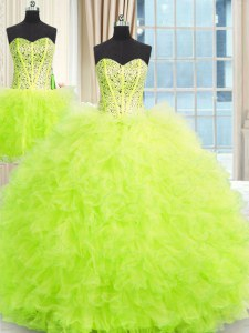 Three Piece Strapless Neckline Beading and Ruffles 15th Birthday Dress Sleeveless Lace Up
