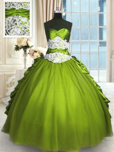 Sophisticated Beading and Lace and Appliques and Ruching Sweet 16 Dresses Olive Green Lace Up Sleeveless Floor Length