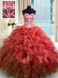 Wine Red Lace Up 15 Quinceanera Dress Beading and Ruffles Sleeveless Floor Length