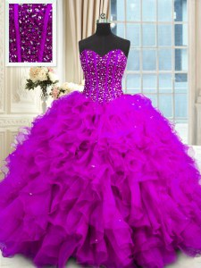 Purple Lace Up Sweetheart Beading and Ruffles and Sequins Sweet 16 Dress Organza Sleeveless