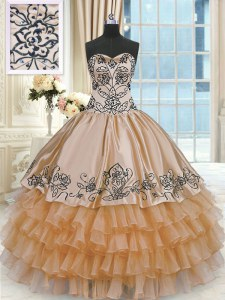 Custom Made Taffeta Sleeveless Floor Length Quinceanera Gowns and Beading and Embroidery and Ruffles