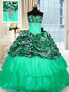 Unique Turquoise Ball Gowns Strapless Sleeveless Organza and Printed Sweep Train Lace Up Beading and Ruffled Layers Sweet 16 Dress