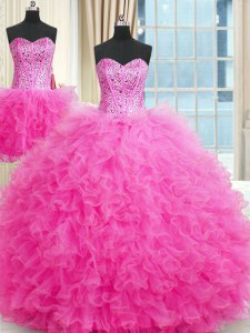 Three Piece Rose Pink Tulle Lace Up Sweet 16 Dresses Sleeveless Floor Length Beading and Ruffles