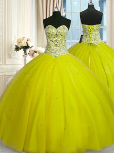 Yellow Green Ball Gowns Tulle Sweetheart Sleeveless Beading and Sequins Floor Length Lace Up Ball Gown Prom Dress