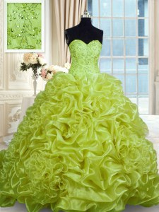 Pick Ups With Train Ball Gowns Sleeveless Olive Green Sweet 16 Quinceanera Dress Sweep Train Lace Up
