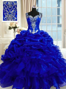 Free and Easy Royal Blue Lace Up Straps Beading and Ruffles and Pick Ups Quinceanera Gowns Organza Sleeveless