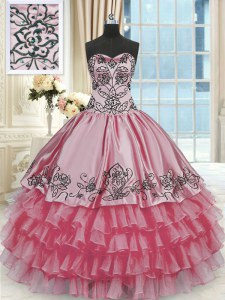 Ruffled Rose Pink Sleeveless Organza and Taffeta Lace Up Quinceanera Gowns for Military Ball and Sweet 16 and Quinceanera