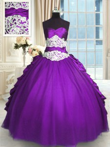 On Sale Pick Ups Ball Gowns Quinceanera Gowns Purple Sweetheart Taffeta Sleeveless Floor Length Lace Up