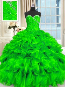 Floor Length Sweet 16 Dress Organza Sleeveless Beading and Ruffles