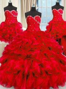 Glittering Four Piece Sleeveless Floor Length Beading and Ruffles and Ruching Lace Up Quinceanera Dress with Red