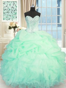 Fantastic Organza Sweetheart Sleeveless Lace Up Beading and Ruffles Sweet 16 Dresses in Apple Green