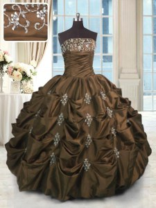 Charming Pick Ups Ball Gowns 15th Birthday Dress Chocolate Strapless Taffeta Sleeveless Floor Length Lace Up