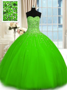 Sleeveless Floor Length Beading Lace Up Sweet 16 Dress with