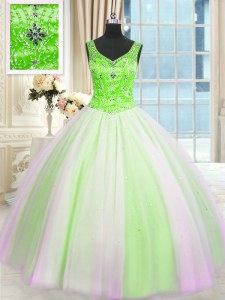 Multi-color V-neck Neckline Beading and Sequins Quince Ball Gowns Sleeveless Lace Up
