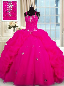 Fuchsia Sleeveless With Train Beading Lace Up Quinceanera Dress