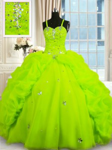 Sleeveless Floor Length Beading and Pick Ups Lace Up Vestidos de Quinceanera with Yellow Green