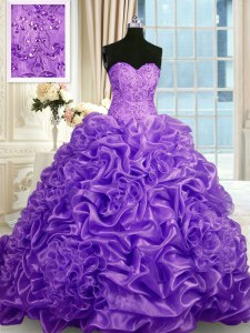 Classical Pick Ups Lavender Sleeveless Organza Sweep Train Lace Up 15 Quinceanera Dress for Military Ball and Sweet 16 and Quinceanera