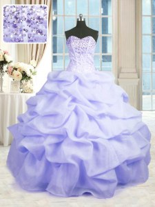 Lavender 15 Quinceanera Dress Military Ball and Sweet 16 and Quinceanera and For with Beading and Ruffles Sweetheart Sleeveless Lace Up