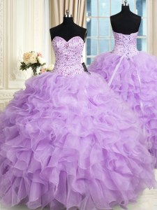 Custom Design Lilac Sleeveless Organza Lace Up Quince Ball Gowns for Military Ball and Sweet 16 and Quinceanera