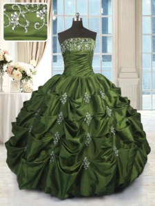 Pretty Green Sleeveless Floor Length Beading and Pick Ups Lace Up Quinceanera Dresses