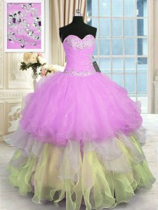 Super Ruffled Sweetheart Sleeveless Lace Up 15 Quinceanera Dress Multi-color Organza