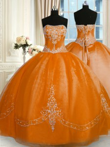 Sumptuous Floor Length Ball Gowns Sleeveless Rust Red Quince Ball Gowns Lace Up