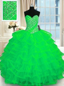 Enchanting Ruffled Floor Length Green Quinceanera Dress Sweetheart Sleeveless Lace Up
