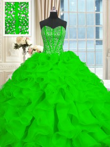 Sleeveless With Train Beading and Ruffles Lace Up 15 Quinceanera Dress with Brush Train