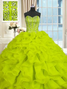 Glittering Yellow Green Organza Lace Up Sweetheart Sleeveless With Train Ball Gown Prom Dress Brush Train Beading and Ruffles
