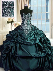 Adorable Sleeveless Zipper Floor Length Beading and Embroidery and Pick Ups 15 Quinceanera Dress