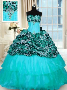 Custom Made Printed Aqua Blue Vestidos de Quinceanera Military Ball and Sweet 16 and Quinceanera and For with Beading and Ruffled Layers Strapless Sleeveless Sweep Train Lace Up