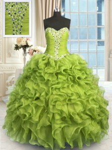 Adorable Yellow Green Sweetheart Lace Up Beading and Ruffles Quinceanera Dress Sleeveless