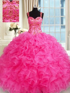 Floor Length Lace Up Sweet 16 Dresses Hot Pink for Military Ball and Sweet 16 and Quinceanera with Embroidery and Ruffles