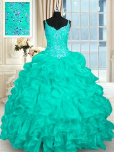 On Sale Turquoise Ball Gowns Beading and Ruffles Ball Gown Prom Dress Lace Up Organza Sleeveless