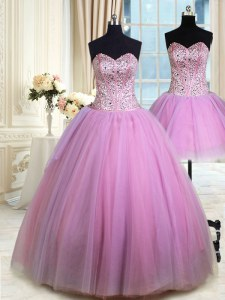Attractive Three Piece Lilac Sleeveless Tulle Lace Up 15 Quinceanera Dress for Military Ball and Sweet 16 and Quinceanera