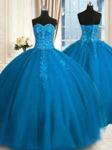 Ideal Teal Sleeveless Tulle Lace Up Sweet 16 Quinceanera Dress for Military Ball and Sweet 16 and Quinceanera