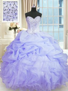 Fine Beading and Ruffles Quinceanera Gown Lavender Lace Up Sleeveless Floor Length