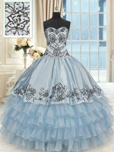 Sleeveless Lace Up Floor Length Beading and Embroidery and Ruffled Layers Sweet 16 Dress