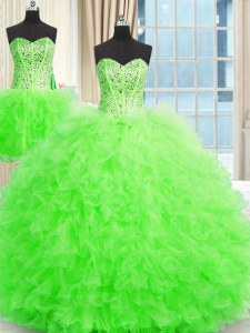 On Sale Three Piece Sleeveless Floor Length Beading and Ruffles Lace Up Quinceanera Gowns with