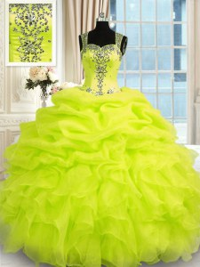 Elegant Ball Gowns Sweet 16 Quinceanera Dress Yellow Green Straps Organza Sleeveless Floor Length Zipper